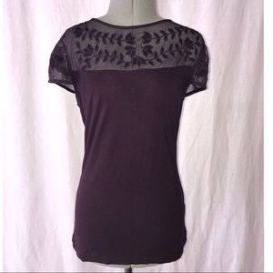 Purple T-shirt with mesh detailing | H&M | size S